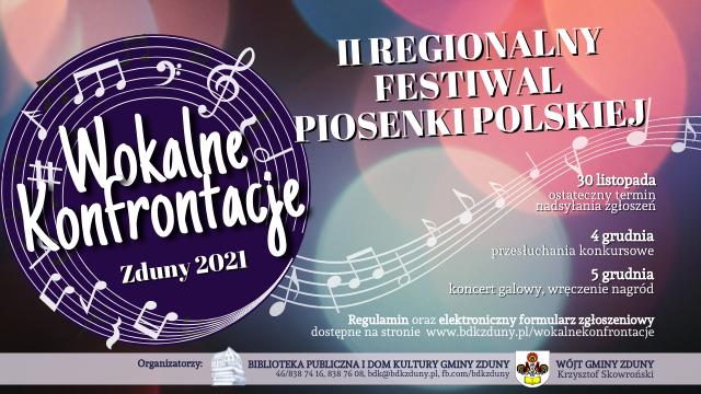 Wokalne Konfrontacje – II Regionalny Festiwal Piosenki Polskiej, Zduny 2021, ZAPRASZAMY!